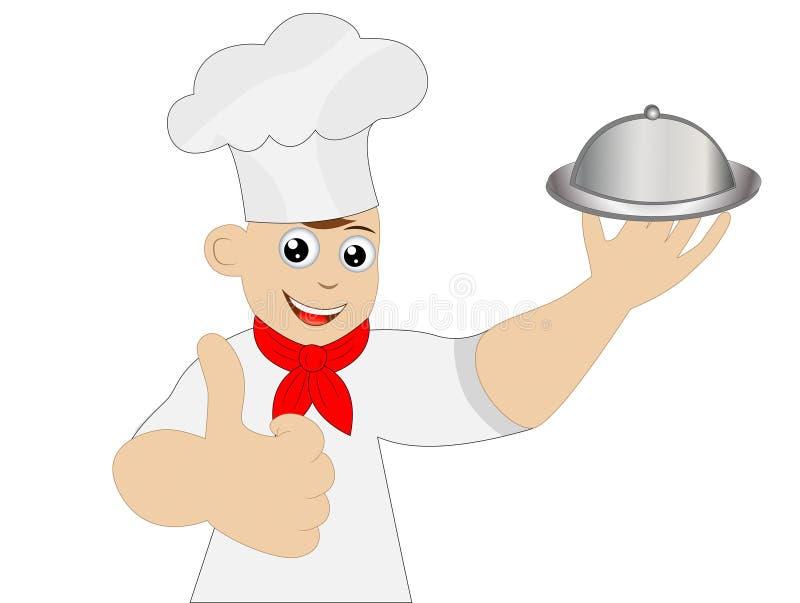 Wesoło mężczyzna kucharza przedstawienia gest royalty ilustracja
