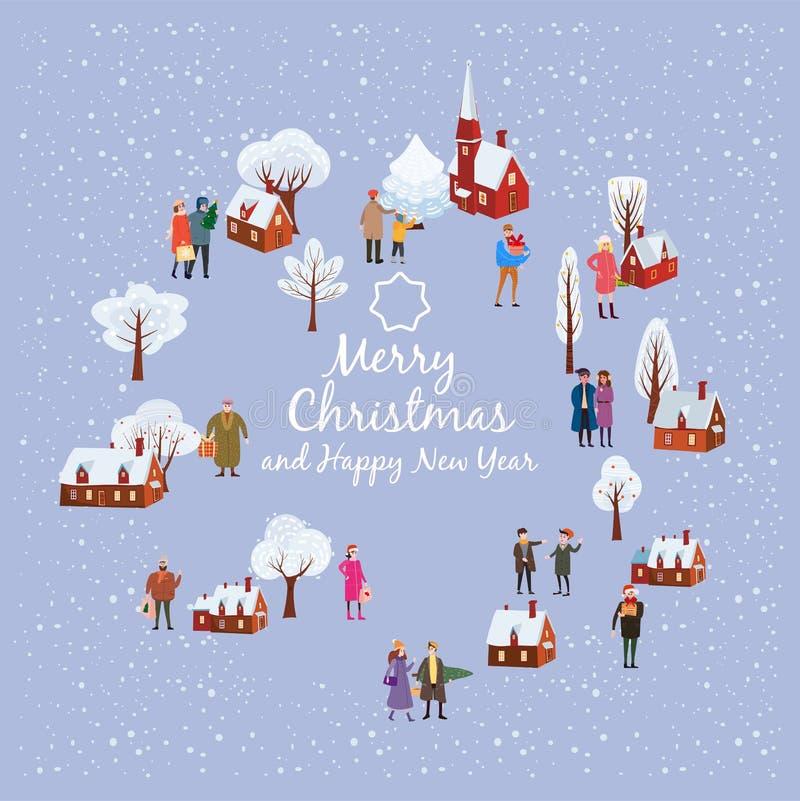 Wesoło nowy rok, boże narodzenia, karciany szablon z ludźmi charakterów, mężczyźni i kobiety w zim ubraniach przychodzących z pre ilustracji