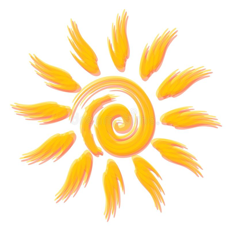 Wesoło optymistycznie słońce stylu watercolours royalty ilustracja