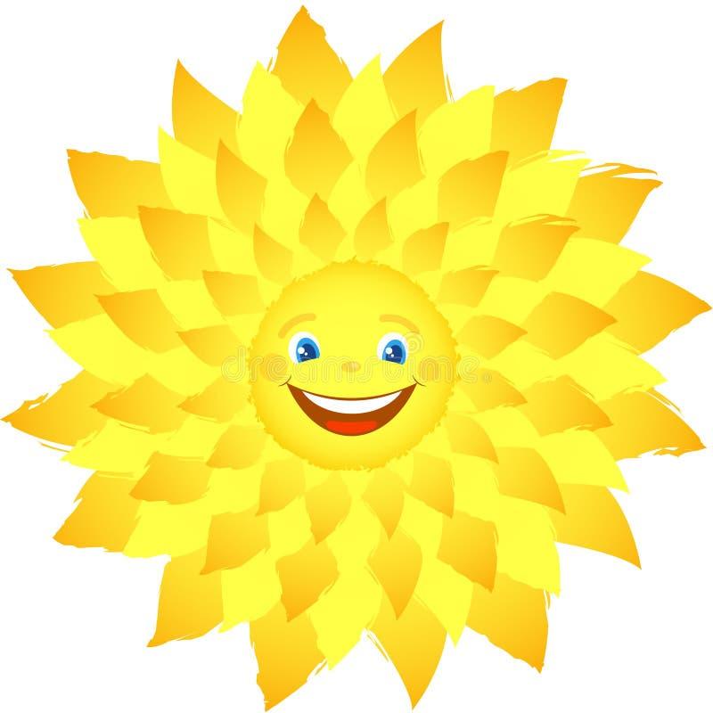 Wesoło szczęśliwy słońce z promieniami ilustracji
