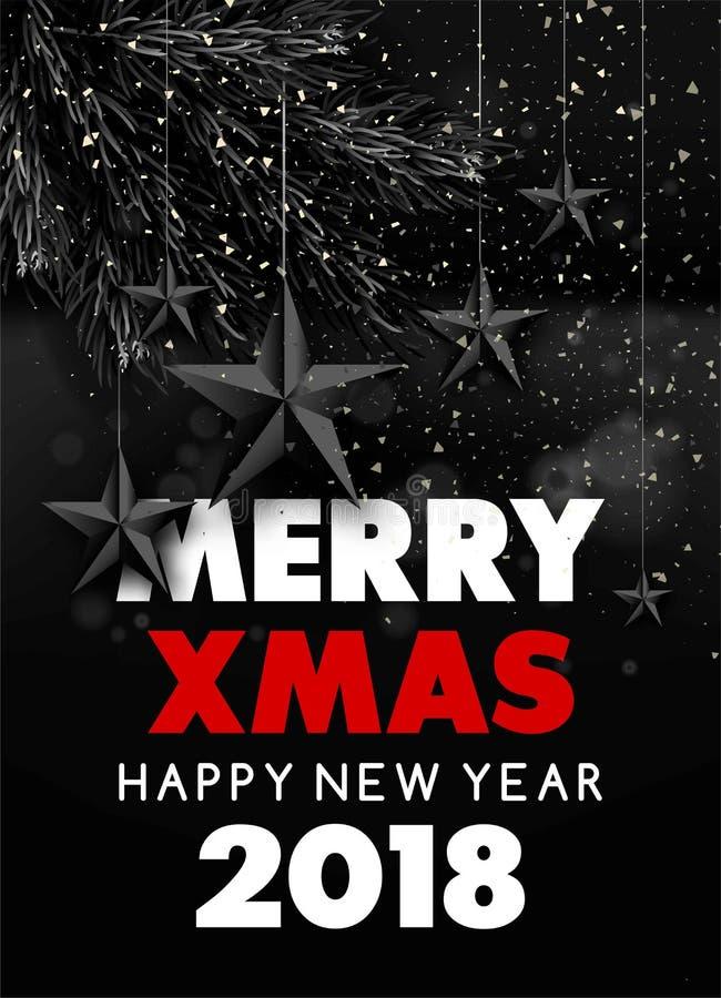 Wesoło Szczęśliwy 2018 Xmas nowego roku kartka z pozdrowieniami tła czerni wektorowi boże narodzenia grają główna rolę royalty ilustracja