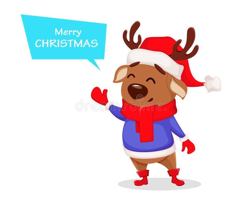 wesołych Świąt Śliczny jeleni jest ubranym Święty Mikołaj kapelusz ilustracji