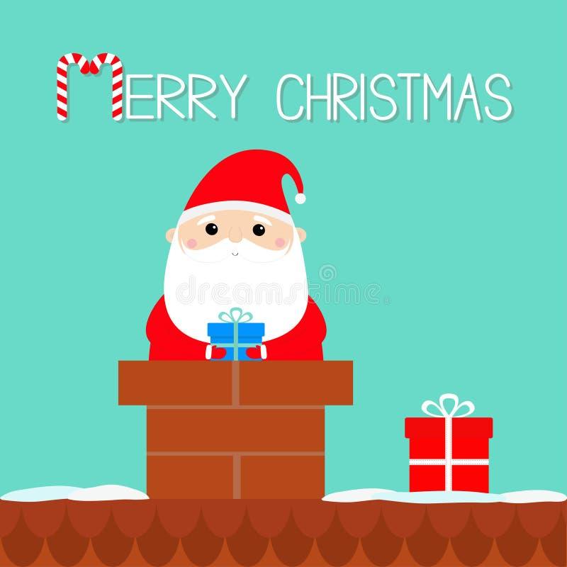 wesołych Świąt Święty Mikołaj na dachowym kominie Czerwony kapelusz, kostium, broda, pasowa klamra, torba, prezenta pudełko Ślicz royalty ilustracja