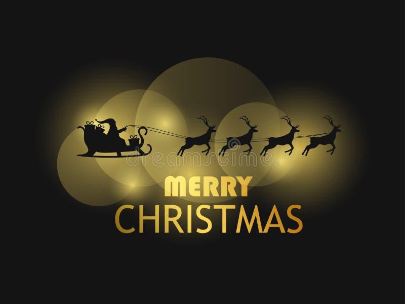 wesołych Świąt Święty Mikołaj w saniu z reniferem Kartka z pozdrowieniami projekta szablon z złotym gradientem Bokeh skutek wekto royalty ilustracja