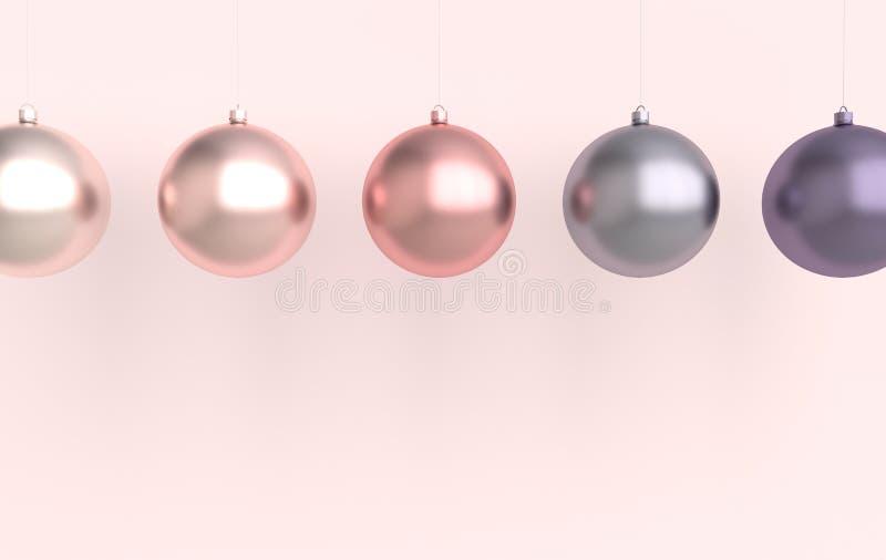 Wesołych Świąt Bożego Narodzenia i Szczęśliwego Nowego Roku 3d przedstawia kartę ilustracyjną z różowym złotem i fioletowymi kula ilustracja wektor
