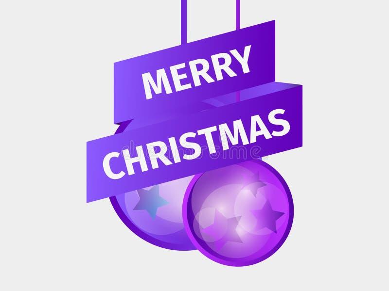 wesołych Świąt Bożenarodzeniowa piłka i faborek z gwiazdami Kartka z pozdrowieniami projekta szablon z purpurowym gradientem royalty ilustracja