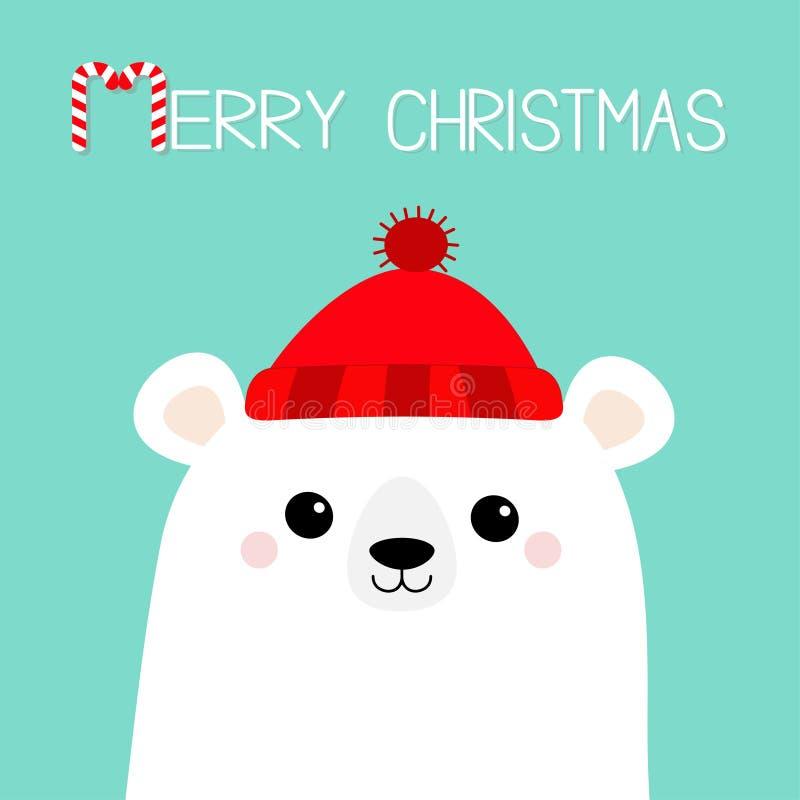 wesołych Świąt Cukierek trzcina Biegunowa biała niedźwiadkowego lisiątka twarz Czerwony kapelusz szczęśliwego nowego roku, Śliczn royalty ilustracja