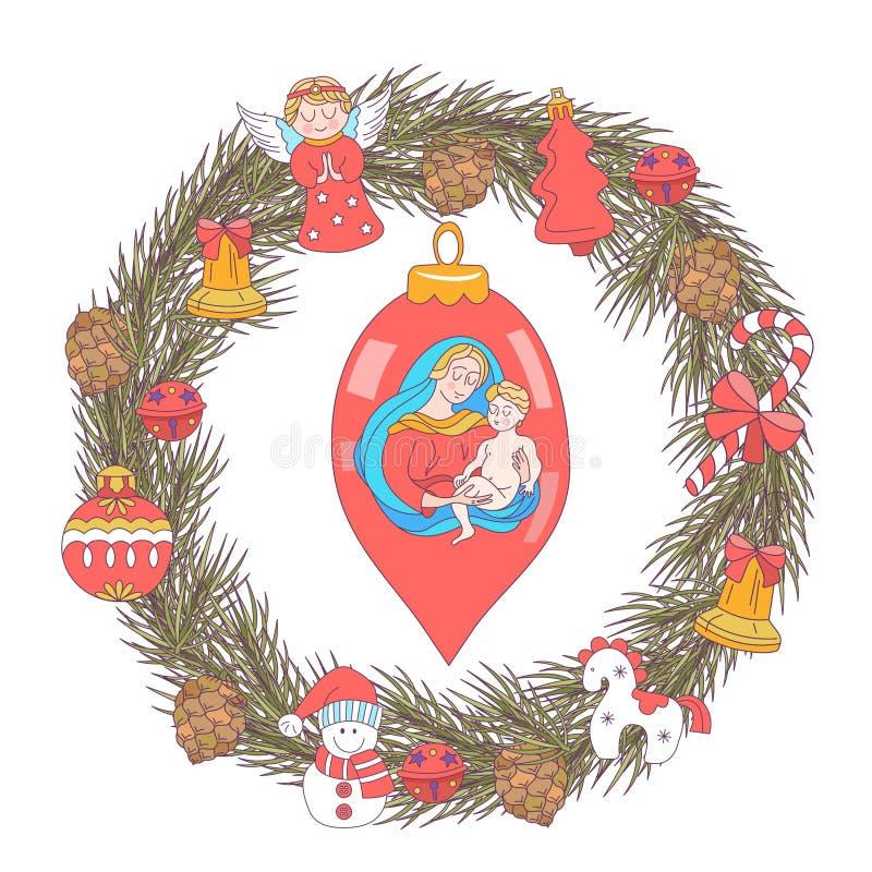 wesołych Świąt karcianych dzień powitania irysów macierzysty s wektor Wianek choinki ilustracja wektor