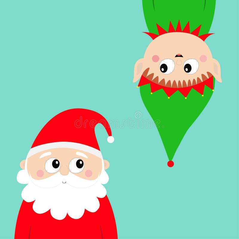 wesołych Świąt nowy rok, Święty Mikołaj elfa twarzy głowy ikony set Wiszący do góry nogami Ślicznej kreskówki kawaii dziecka śmie ilustracji
