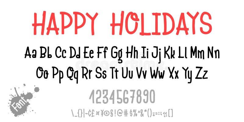 wesołych świąt Ręka rysujący typeface ustawiający odizolowywającym na bielu Wektorowa logo chrzcielnica Typografii abecadło dla t ilustracja wektor