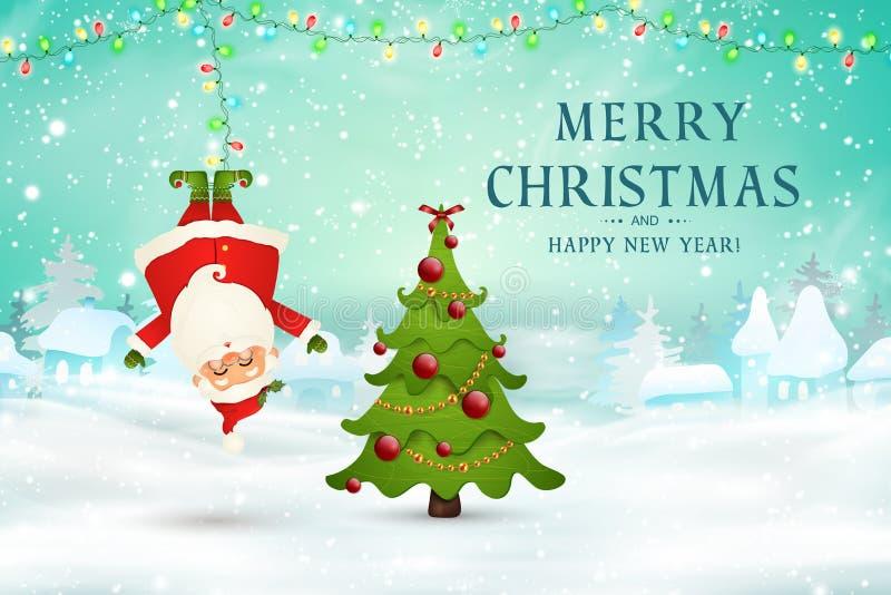 wesołych Świąt szczęśliwego nowego roku, śmieszny Święty Mikołaj wieszać do góry nogami w boże narodzenie śnieżnej scenie z spada ilustracji