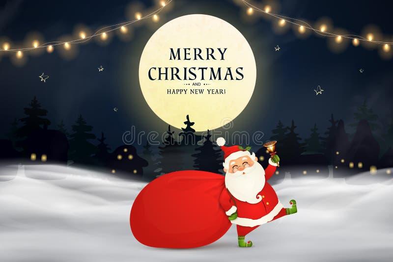 wesołych Świąt szczęśliwego nowego roku, Śmieszny Święty Mikołaj z czerwoną torbą z teraźniejszość, prezentów pudełka, choinka, d royalty ilustracja