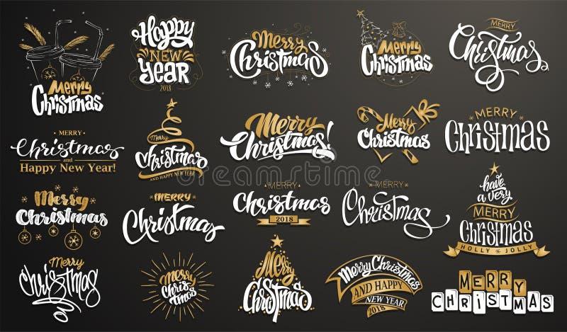 wesołych Świąt szczęśliwego nowego roku, Ręcznie pisany nowożytny szczotkarski literowanie, typografia set royalty ilustracja