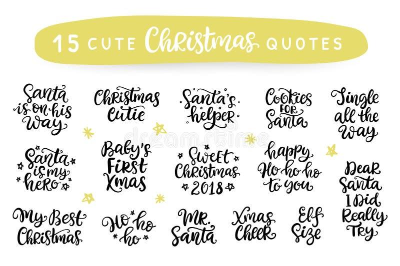 wesołych Świąt Szczęśliwy nowy rok 2018 Typografia set royalty ilustracja