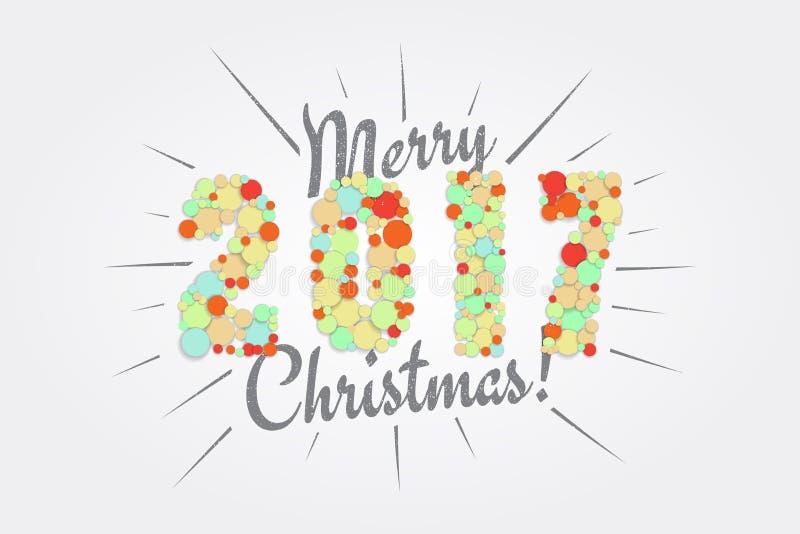 wesołych Świąt Szczęśliwy nowy rok 2017 Typograficzne etykietki, majchery ilustracji