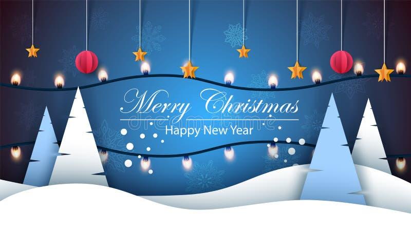 wesołych Świąt Szczęśliwy nowy rok, zima krajobraz Jodła, gwiazda, śnieg, światło, żarówka ilustracji