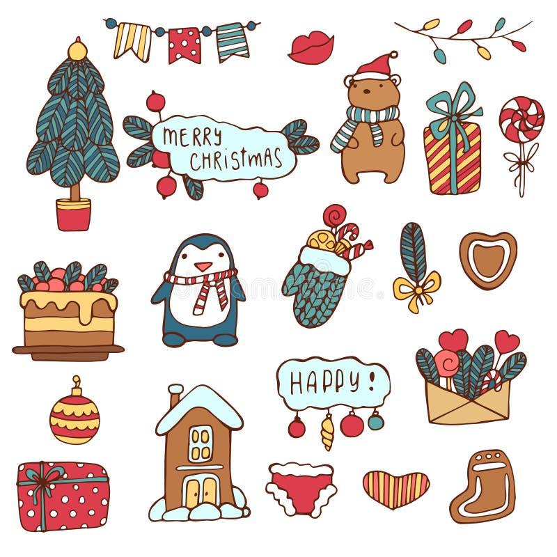 wesołych Świąt Wakacyjny Wektorowy Duży set ręki Rysować Doodle Bożenarodzeniowe dekoracje z ręki literowaniem i charaktery ilustracja wektor