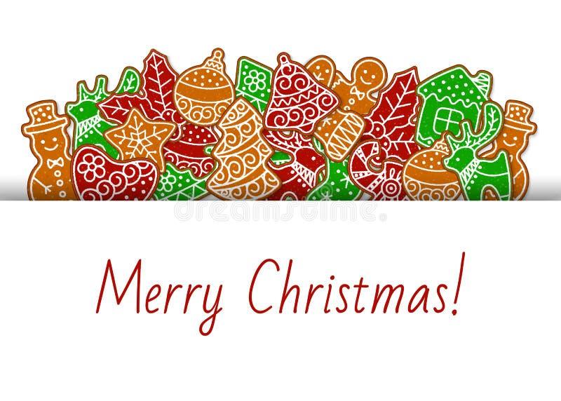 Wesołych Świąt z ciasteczkami gingerbread baner i ilustracją wektora kart Homemade gingerbreman, jeleń, święta ilustracja wektor