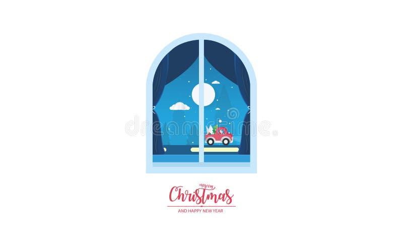 Weso?o bo?e narodzenia i Szcz??liwy nowy rok Bożenarodzeniowy nadokienny widok z Święty Mikołaj lata nad śnieżnym wzgórza tłem, p royalty ilustracja