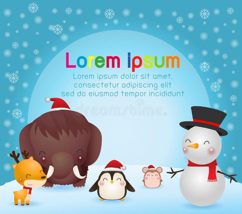 Weso?o bo?e narodzenia i Szcz??liwy nowy rok Bo?enarodzeniowy ?liczny zwierz? charakter mamut, pingwin, renifer, szczur, bałwan,  ilustracja wektor