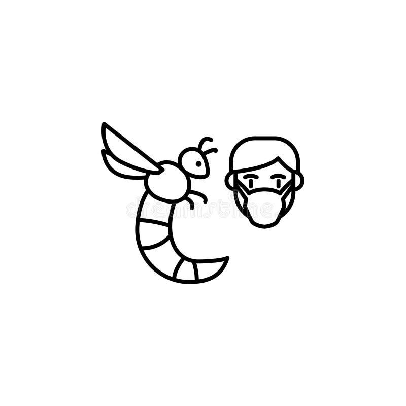 Wesp, allergisch gezichtspictogram Element van problemen met allergieënpictogram Dun lijnpictogram voor websiteontwerp en ontwikk stock illustratie