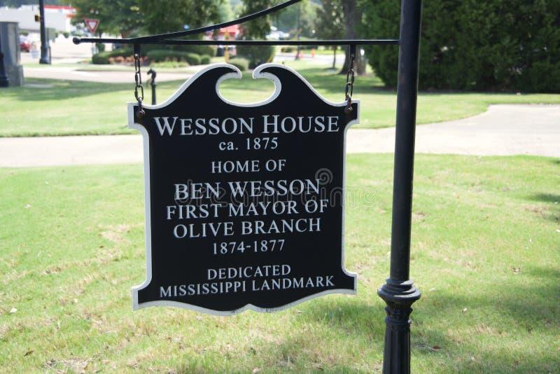 Wesson dom Ustanawiał 1875 gałązkę oliwną, Mississippi zdjęcia royalty free