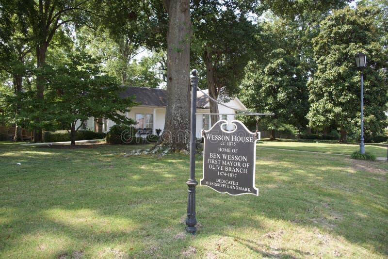 Wesson domu znaka gałązka oliwna, Mississippi zdjęcie royalty free