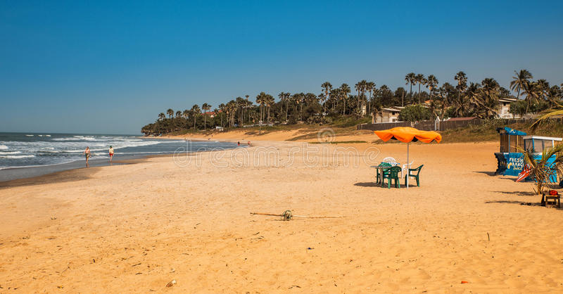 West Africa Gambia - Paradise beach with golden royalty free stock image