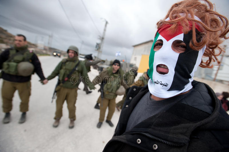 West Bank Anti-Wall Demonstration stock images