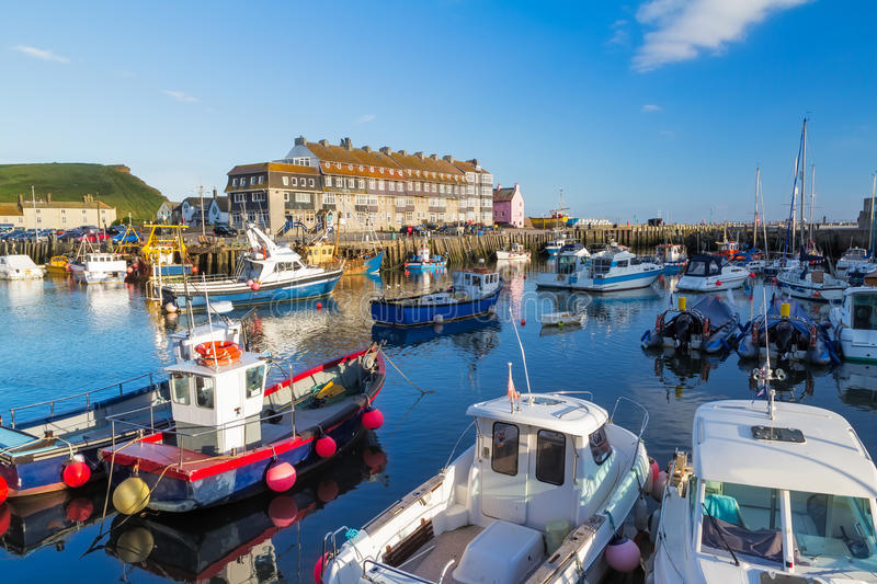 West Bay Dorset England. Fishing boats in West Bay Harbour Dorset England UK Europe royalty free stock photos