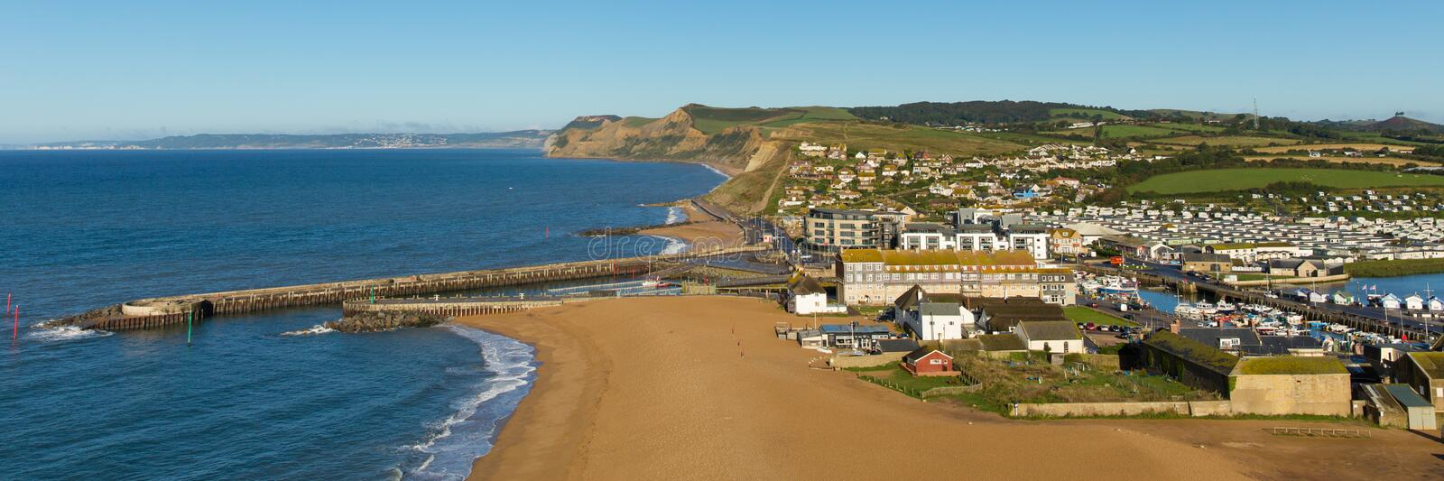 West Bay Dorset England uk panoramic view. To the west direction of Golden Cap stock photos