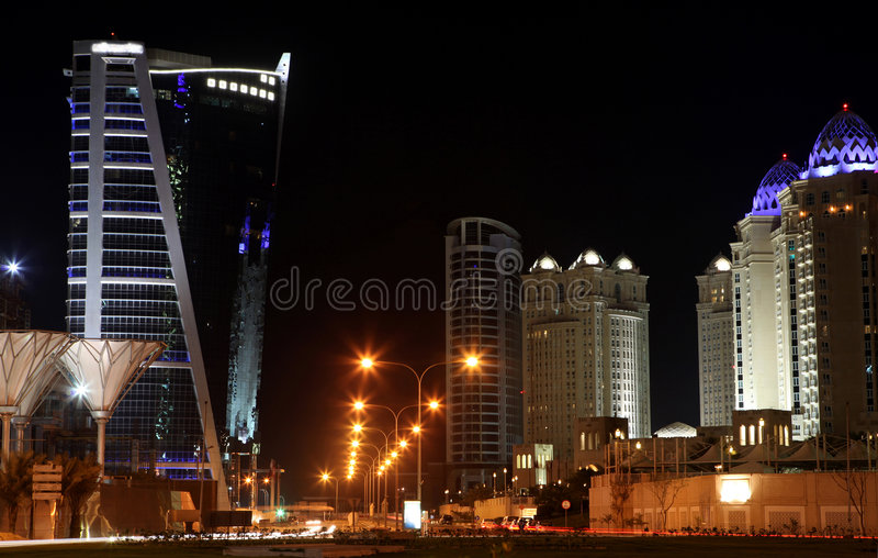 West Bay Hotels Area Doha Stock Images