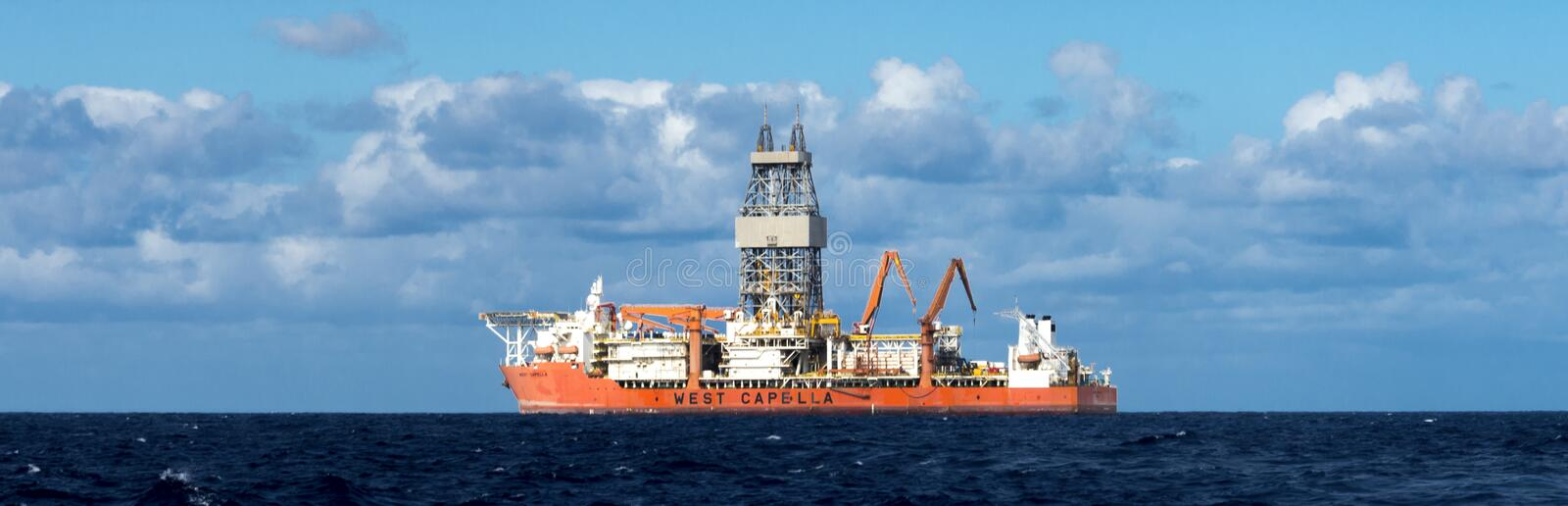 West Capella drillship for offshore deepwater drilling in Atlantic ocean nearby Tenerife, Canary Islands, Spain. May 2017 royalty free stock image