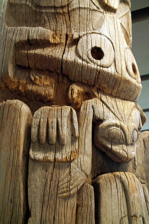 West Coast Indian Totem, UBC, Vancouver BC, Canada stock image