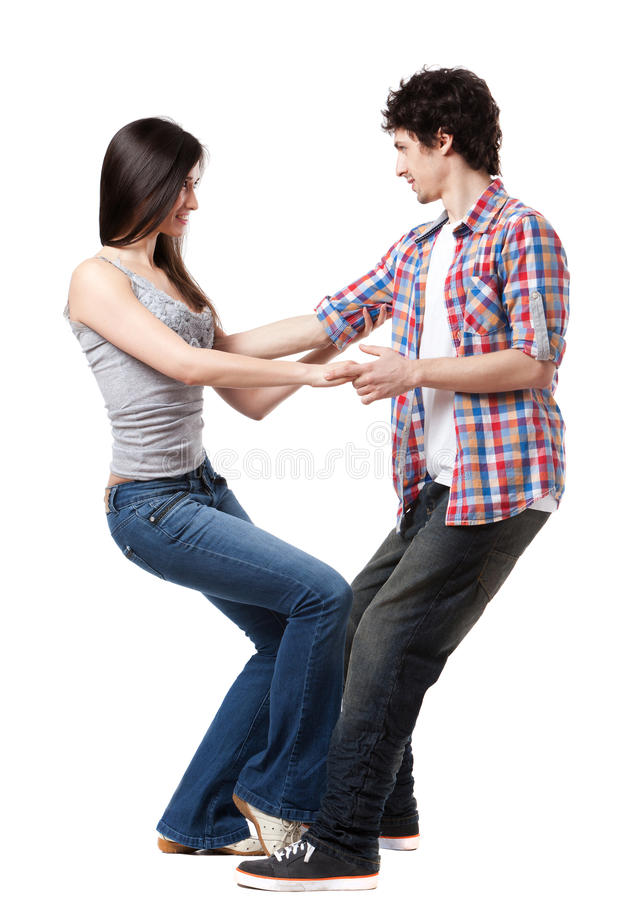 West Coast Swing. Social dance West Coast Swing. Demonstration of a leverage extension pose stock image