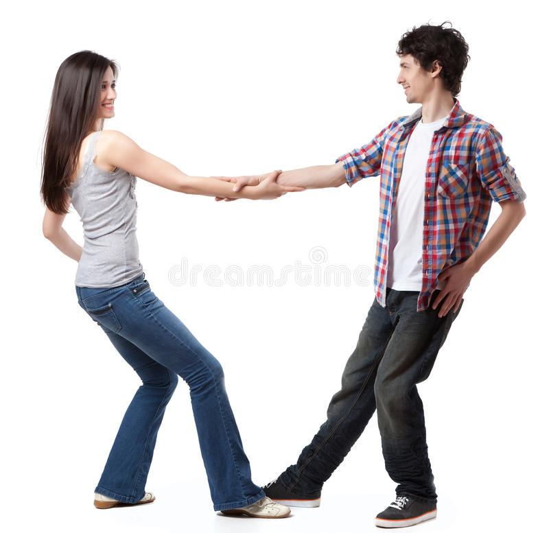 West Coast Swing. Social dance West Coast Swing. Demonstration of a leverage extension pose stock photo