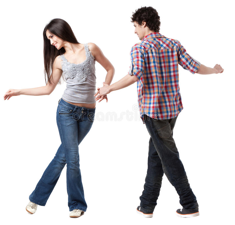 West Coast Swing. Social dance West Coast Swing. A demonstration pose stock images