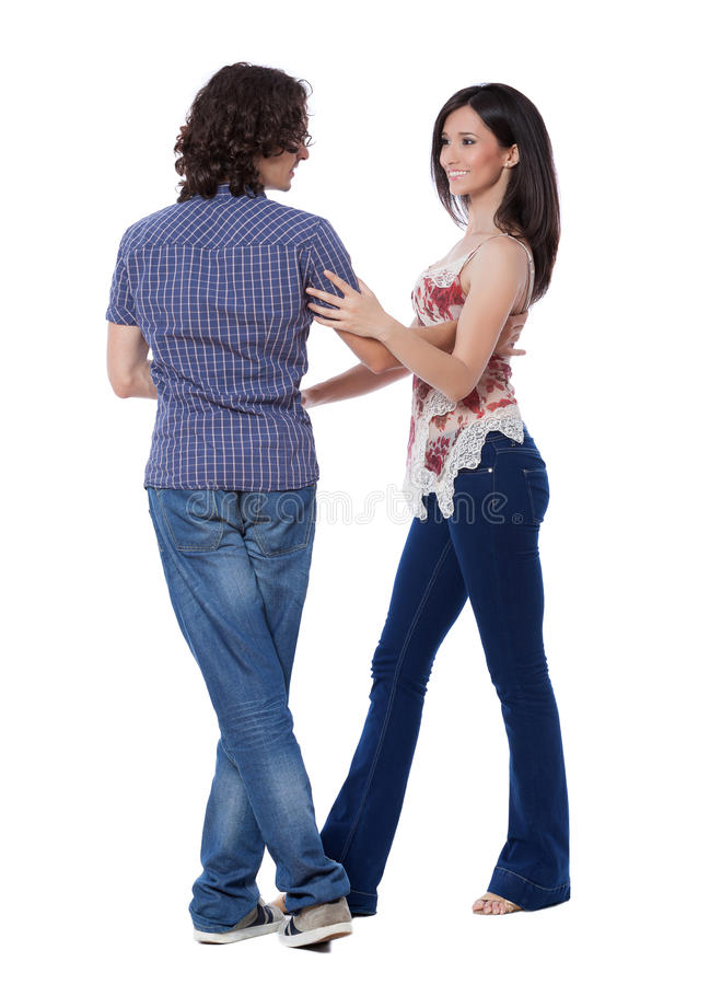 West Coast Swing Dance. Social dance West Coast Swing. Demonstration of a left side pass from close position stock photos