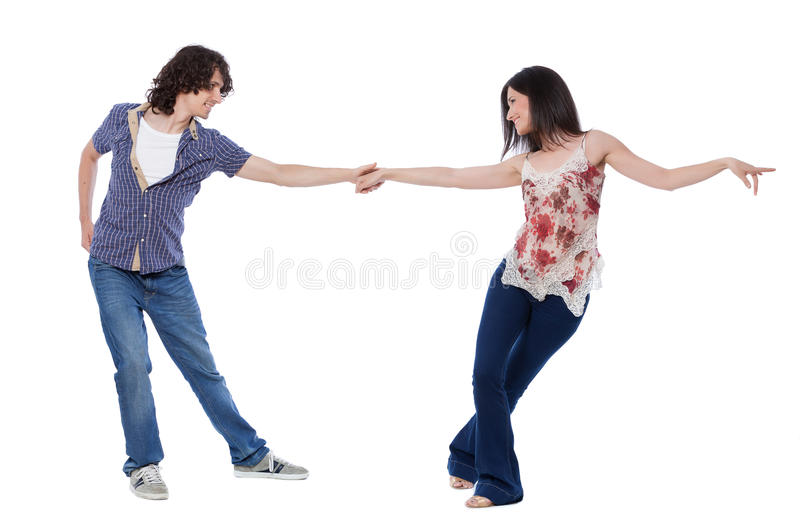 West Coast Swing Dance. Social dance West Coast Swing. Demonstration of a stretch pose royalty free stock photography
