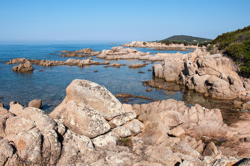 West Corsica wild coastal landscape with stones. West Corsica French island, wild coastal landscape with stones royalty free stock photos