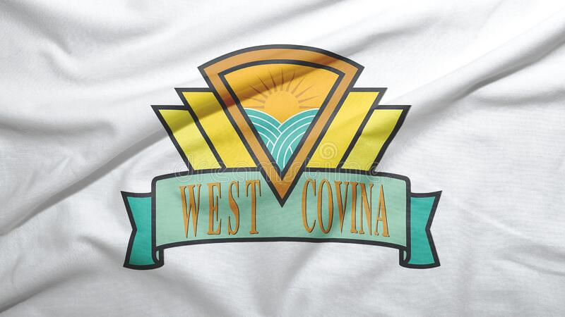 West Covina of California of United States flag background. West Covina of California of United States flag on the fabric texture background royalty free stock image