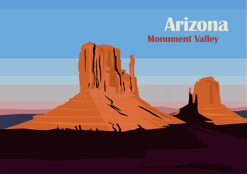 West and East Mitten Butte in Monument Valley stock illustratie