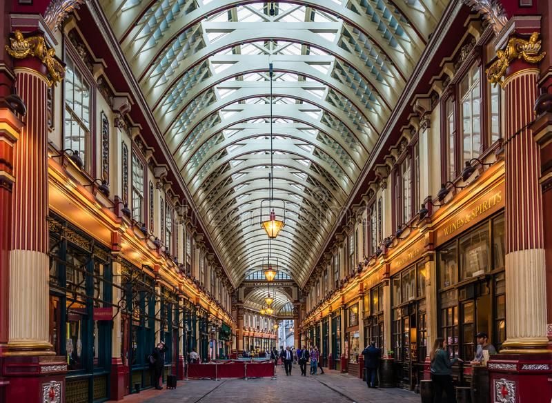 The West entrance of the Leadenhall Market in London. royalty free stock photography