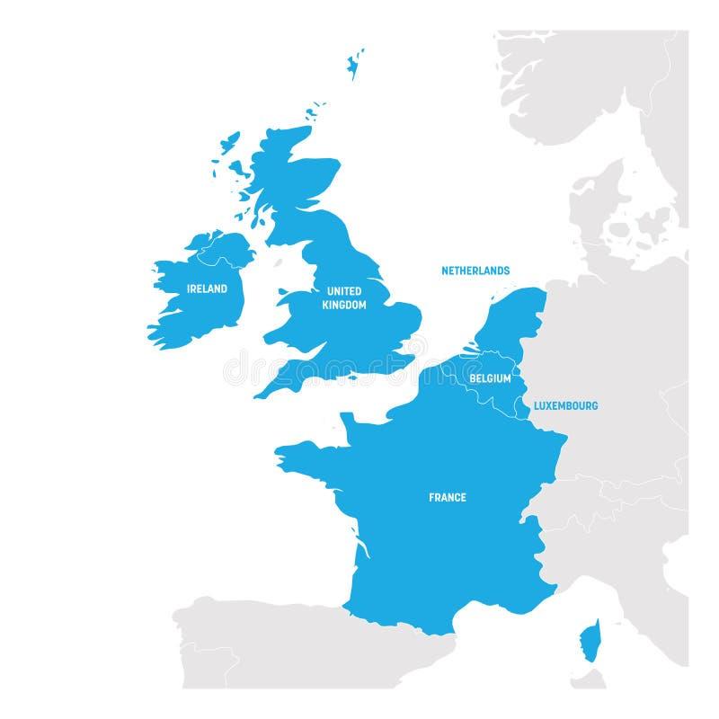West-Europa-Region Karte von Ländern in Westeuropa Auch im corel abgehobenen Betrag stock abbildung