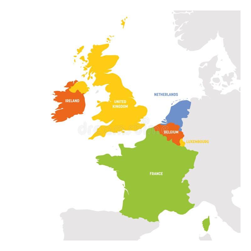West-Europa-Region Karte von L?ndern in Westeuropa Auch im corel abgehobenen Betrag stock abbildung