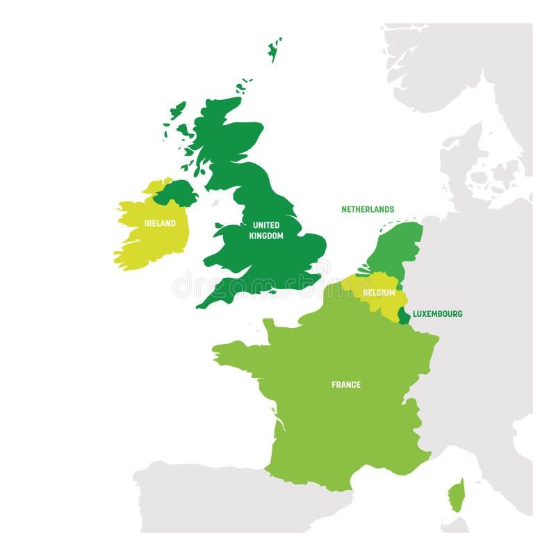 West-Europa-Region Karte von L?ndern in Westeuropa Auch im corel abgehobenen Betrag vektor abbildung