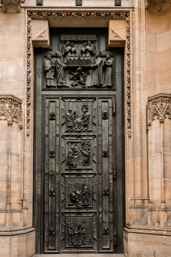 West facade of the Cathedral of Saints Vitus built in the 14th century. Front door with decor, Prague, Czech Republic. Travel photography royalty free stock photo