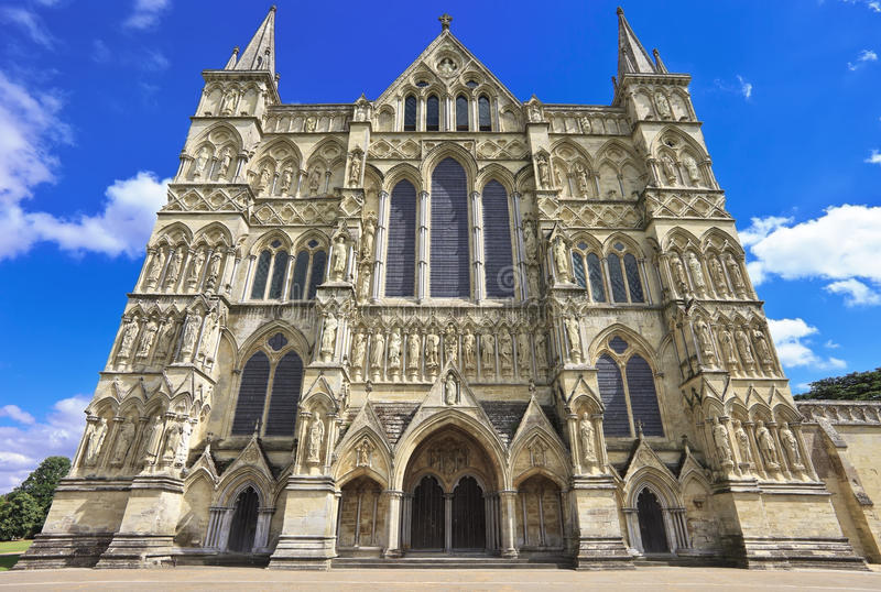 West Front of Salisbury Cathedral, England stock photography