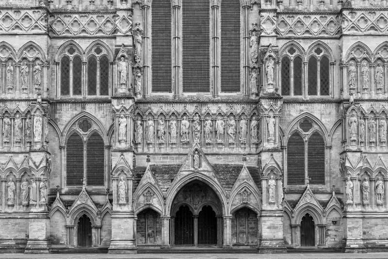 West front view of Salisbury Cathedral. Salisbury, Wiltshire, UK stock photos