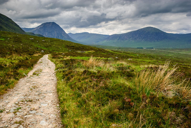 West Highland Way scotland. Hiking path kingshouse stock images